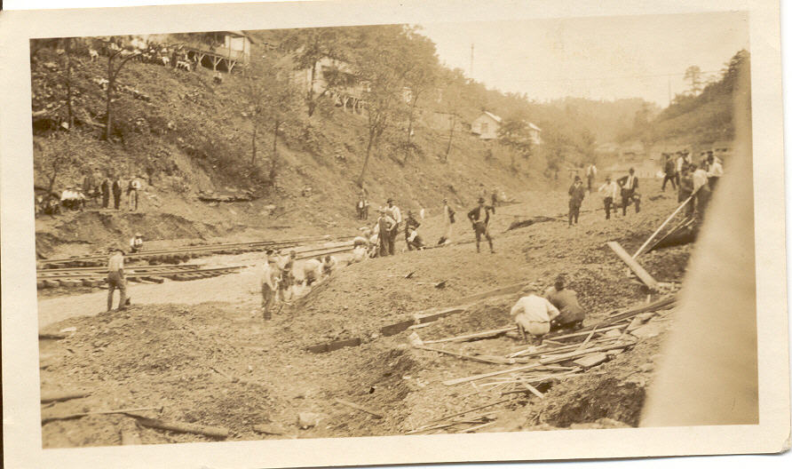 Ongoing rescue effort at Pinnacle Coal & Coke Company Slatedump explosion at McComas WV June 1924