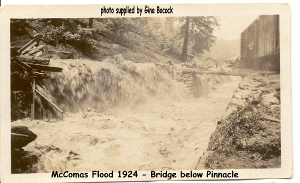 Hillside and Pinnacle Creek flooding occurring at McComas, WV June 1924
