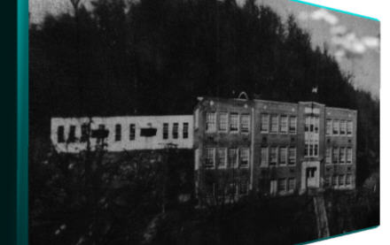 McComas High School around 1950 the work shop and steps are now present...click to enlarge - use your Back Button to return